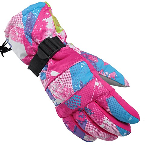 Ski Gloves, NMKJ Snowboard Cycling Snowmobile Biking Athletic Gloves, Waterproof Windproof Snow Proof Warm Breathable Fashion Comfortable Flexible Gloves for Women(Rose Red Graffiti/Small)
