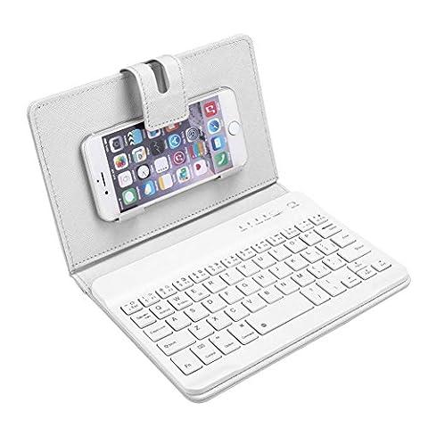 OverDose Leder mit abnehmbarem Bluetooth Tastatur Tastaturen für 5-7inch IOS, Android Phone
