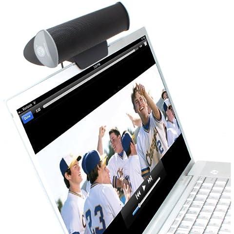 Altavoz con Pinza para Ordenador Portátil, Tablet o Pantalla- Compatible con Acer Aspire Switch 10 SW5-012 / Apple MacBook Air , Pro / Asus N550JK … ¡y muchos otros! Color Negro - GOgroove SonaVERSE USB -