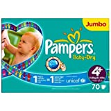 Pampers Baby Dry Size 4 + (9-20kg) Jumbo Pack70 per pack by Pampers