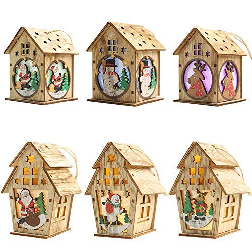 Cieelita Neujahr Weihnachten -Holzgebäude Weihnachten Beleuchtete Montage Kleines Haus Weihnachtsbaum Ornamente Glühend Farbige Cottage