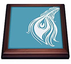 3dRose trv_186742_1 White and Teal Peacock Feather Trivet with Ceramic Tile, 8 x 8, Brown