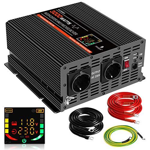 NOVOPAL Spannungswandler 3000W KFZ Wechselrichter 12V DC auf 230V AC Umwandler 2 AC EU Steckdose-Wechselrichter mit 2 USB-Ports, LED-Display und Spitzenleistung 6000 Watt