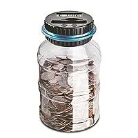 Caratteristiche: Questo barattolo trasparente ha uno schermo LCD su un coperchio che aiuta a contare le monete mentre scivolano attraverso lo slot. Conta con precisione i tuoi soldi e mostra il totale per ogni deposito. Basta inserire le tue ...