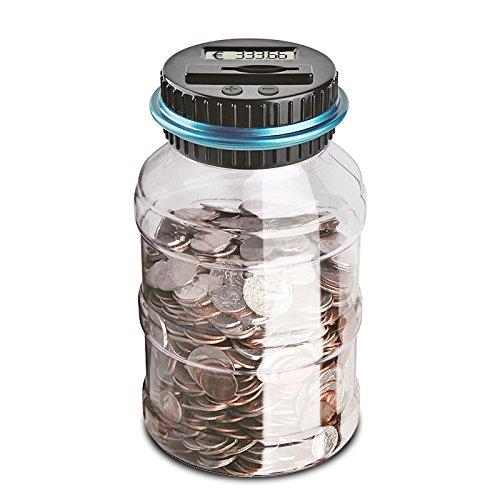 �nze Bank Sparglocke Automatische Münzzähler Piggy Bank Große Kapazität Geld sparen Box mit LCD Display, Transparent Clear (Euro) - Geschenke für Kinder ()
