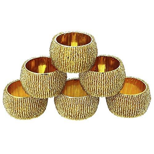 DakshCraft d'oro in rilievo Anelli di tovagliolo
