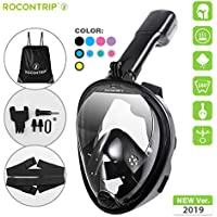 ROCONTRIP Snorkeling Mask,Full Face Snorkel Diving Mask 180°View Panoramic Design,Anti-Fogging Anti-Leak with Adjustable Head Straps with Longer Snorkeling Tube for Man Woman Adult Youth Kid