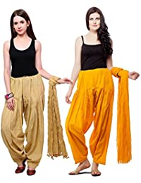 Fashion Store Women Cotton Patiala Salwar Dupatta (Free Size, Skin & Orange)