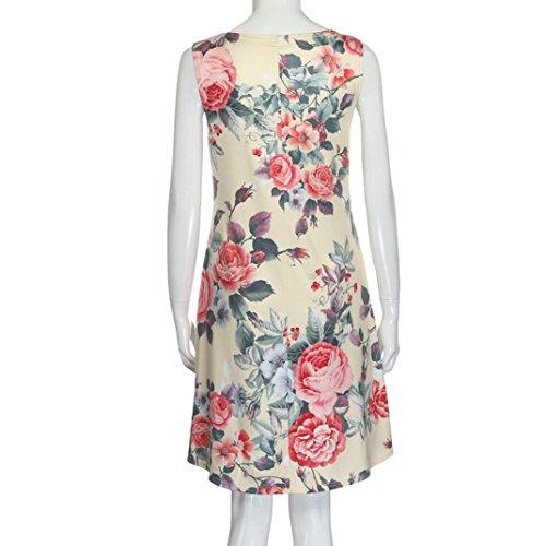 ... Kleid Damen, Bekleidung Longra Frauen Blumendruck Ärmellos  Sommerkleider Partei-Feiertags kurzes Minikleid Yellow ...