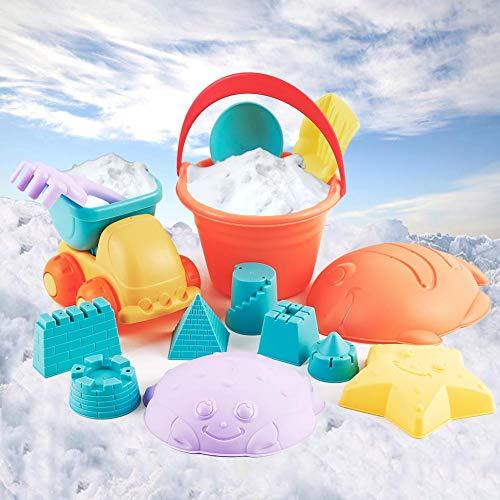 Onshine 14 Stück Strand Sand Spielzeug Set Sandformen LKW Auto Transporter Eimer Strand Kinder Werkzeuge