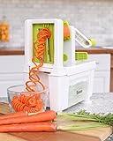 Spiralschneider für Gemüse Twinzee - mit 4 auswechselbaren Klingen - Innovatives Design für eine optimierte Aufbewahrung - Der beste Spiralschneider, um aus Früchten und Gemüse Spaghetti, Spiralen sowie Band- und Fadennudeln zu machen Bild 2