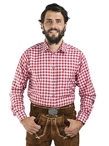 Schöneberger Trachten Couture Trachtenhemd Watzmann kariert - Hemd Oktoberfest & Freizeit Blockkaros (L, Rot/Weiss)