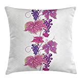 FAFANIQ Grapes Home Decor Throw Pillow Cushion Cover, Vibrant Twiggy Branch with Berries Leaves Plants Trees Wild Habitat, Decorative Square Accent Pillow Case, 18 X 18 Inches, Fuchsia Purple