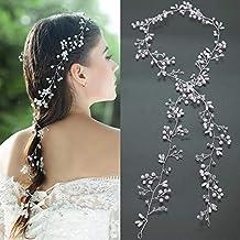 Accesorio para tocado de novia de Vanyda, estilo vintage, diadema con perlas y cristales