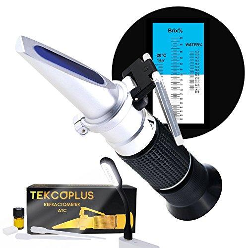 Optik Honig Zuckerfeuchte Brix Baume Refraktometer ATC, Verdreifachen-Größe 58-90% Brix, 38-43 Be '(Baume) 12-27% Wasser, Bienenzucht, Ahorn, mit zusätzlichem Dioptrisches Öl (zur Kalibrierung),Referenz