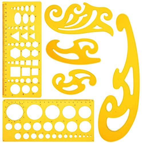 KINDPMA 6 Stück Zeichenschablone Geometrie Schablone Lineal Set Burmester Kurvenlineal Kreisschablone Architektur Schablone technisches Zeichnen Vorlagen für Entwurf Kunst Studio Büro Schule