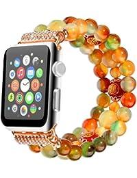 QIONGQIONG Iwatch Apple Watch Correa 38Mm, 42 Mm Reloj Smart Pulsera Color Ágata Perlas Diamante 1/2/3 Generación Universal