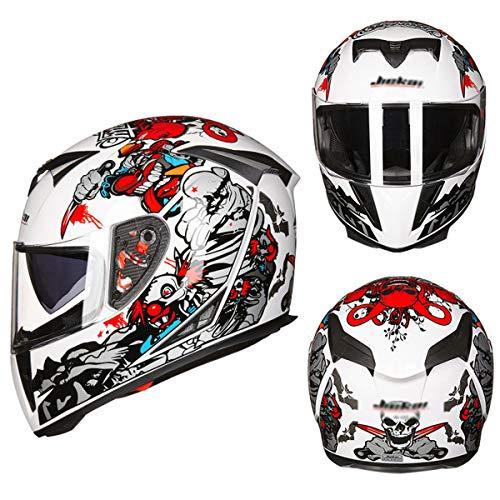 Motorrad Doppelobjektiv Anti-Fog-Helm halb Helm,J-M=54~55cm ()