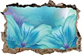 türkise Lilien Wanddurchbruch im 3D-Look, Wand- oder Türaufkleber Format: 62x42cm, Wandsticker, Wandtattoo, Wanddekoration