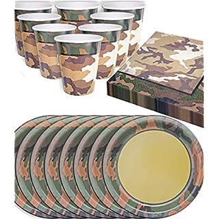 HomeTools.eu - Camouflage Party Geschirr Set | 8 Personen | 32-Teilig