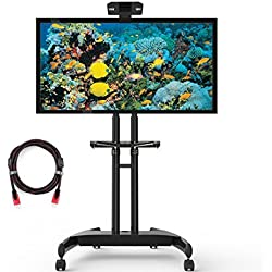 "Suptek ML5075 carrello mobile TV staffa supporto a pavimento con mensola e destra per schermi da 32 a 60 165lbs a da parete per tv e Bundle con 8,8 ""Twisted Veins cavo HDMI"