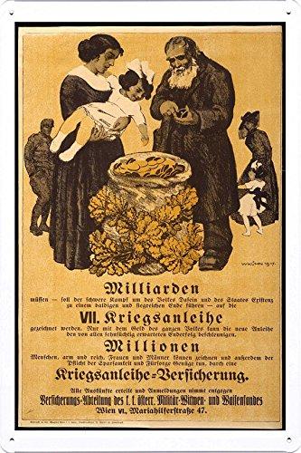 World War I One Tin Sign Metal Poster (reproduction) of Milliarden VII Kriegsanleihe, millionen Kriegsanleihe Versicherung