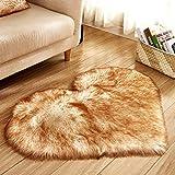 Rart Cuore a Forma di tappeti,Cuscino da Pavimento Pelliccia Super Morbido Tappeto Tappeto Antiscivolo Yoga per Coperte Divano del Salone Camera da Letto-D 70x90cm(28x35inch)
