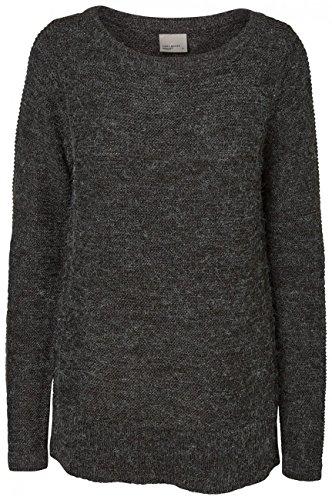 Vero Moda Damen Pullover VMZOE JOYA LS BOATNECK BLOUSE , Größe:S, Farbe:Dark Grey Melange (10179354) (Schwarz Grau Und Pullover Gestreifter)