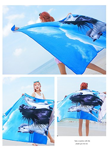 Beach Towels Extra Large 100x180cm Microfibre for Men and Women Great for Swim Spa Travel Yoga Sports Camping Sunbed Cover Bath or Shower at Home Horse Print