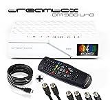 Dreambox DM900 UHD 4K E2 Linux Receiver mit 2X DVB-S2X/1x DVB-C/T2 Triple Tuner (inkl. Gratis Kabelset: 1x HDMI Kabel + 2 x 1,5m Sat Anschlusskabel + 1 x 1,5m HDTV-Antennenkabel) Weiß