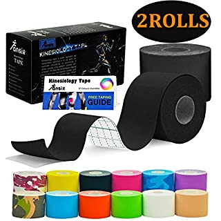 FANSIR Sports Kinesiology Tape Sport Tapes Muscle Tape Elastic Strapping Waterproof Support Tape for Exercise, Sports, Injury Recovery (5 CM x 5M, (Black - 2 Rolls)