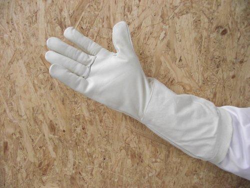 Premium Imkerhandschuhe naturell- echtes, sehr kräftiges und weich gearbeitetes Leder mit extra langer Stulpe - Größe 9