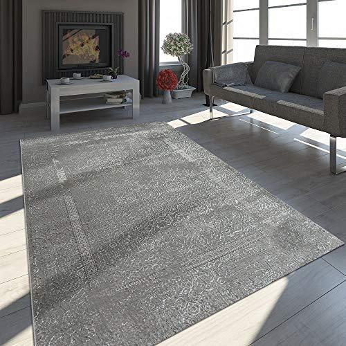 Orient Teppich Modern 3D Effekt Used Look Maya Muster Schimmer Grau Anthrazit, Grösse:80x300 cm