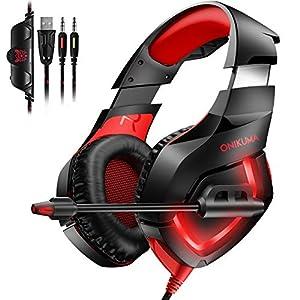 Gaming Headset für PS4 PC Xbox One, TedGem Stereo 3.5mm Gaming Kopfhörer, Noise Cancelling über Ohr Kopfhörer mit Mikrofon, LED-Licht, Bass Surround, Soft Memory-Ohrenschützer