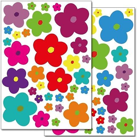 Set de stickers muraux Wandkings Fleurs color?es - design 6 avec 68 autocollants sur 2 feuilles A4