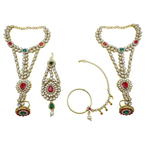 Banithani Collier De Mariée Boucles D'Oreilles Indien Cadeau De Bijoux Traditionnels Pour Les Femmes rouge-6