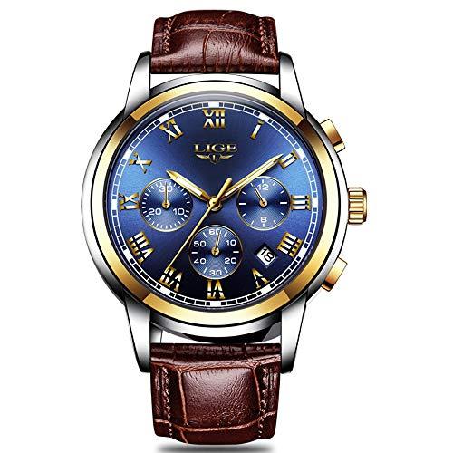 FOVICN Herren Uhr Analog Quarz mit Leder Armband L-001 -