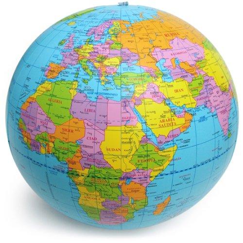 Polo Sud Palla Mondo, Globo Geografico, Mappamondo Gonfiabile, Mare Azzurro, Diametro 40 cm