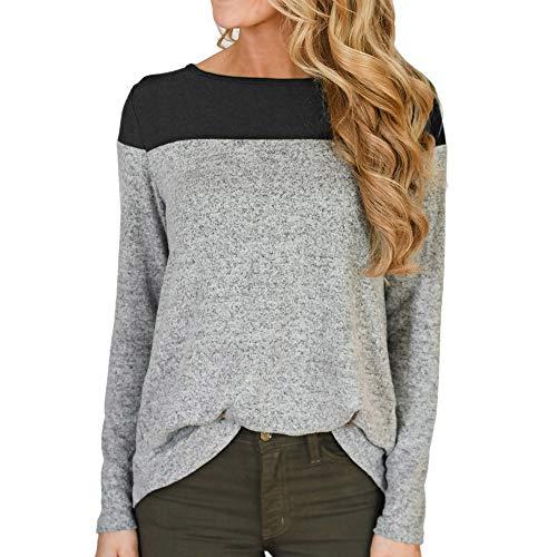 TWIFER Frauen Langarm mit Tasche O-Ausschnitt T-Shirt Button -