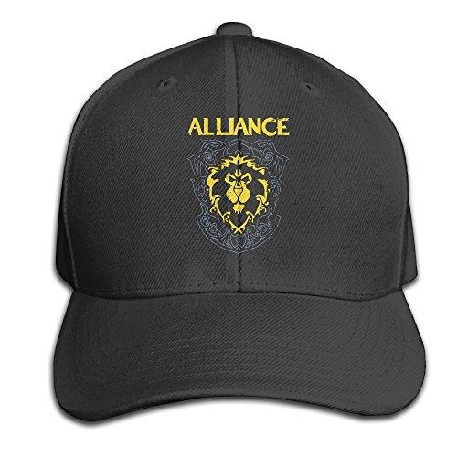 Hittings BACADI Unisex World Of Warcraft Alliance Adjustable Peaked Baseball Caps Hats Duck Tongue Hat Black