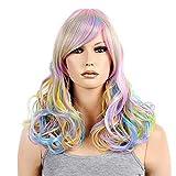 Best Extensions de cheveux humains arc - Lady Wig Coloré Arc-en-Ciel Perruques Frange Pleine Frange Review