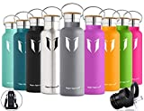 Super Sparrow Stainless Steel Vacuum Insulated Water Bottle, Double Wall Design,Standard Mouth - 500ml - Eco Friendly & BPA Free - For Running, Gym, Yoga,Cycling, Outdoors and Camping, Car - Ideal as Sports Water Bottle - with 2 Exchangeable Caps (Grey, 500ml-17oz)
