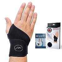 Doctor Developed Premium Copper Lined Wrist Support / Wrist Strap / Wrist Brace / Hand Support [Single] & DOCTOR WRITTEN HANDBOOK— RELIEF for Wrist Injuries, Arthritis, Sprains & More