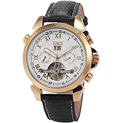 AMPM24 New Automatic Mechanical Analog Date & Day Luxury Mens Leather Watch Golden + AMPM24 Gift Box PMW018