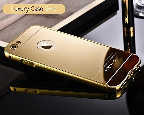 KPH Luxury Mirror Effect Acrylic back + Metal Bumper Case Cover for iPhone 6/6s (4.7 inches) - (GOLD)  available at amazon for Rs.222