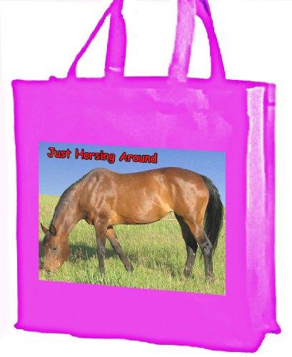 Horsing Bay-Pferd Baumwolle, rund, Tragetasche, Einkaufstasche rose