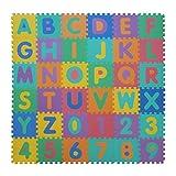 VeloVendo - Tappeto Puzzle con Certificato CE e Testato TÜV Rheinland in soffice Schiuma Eva | Tappeto da Gioco per Bambini | Tappetino Puzzle (Lettere + Numeri)