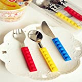 Bausteine Geschirr Block Messer Gabel Löffel Creative Besteck Geschirr tragbar Colorful 3 PCS IN 1 SET