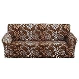 WOWCOS Floreale Stampato copridivano Antiscivolo Elastico Fodera in Poliestere Tessuto Morbido Tratto Furniture Protector Couch Cover, 2 posti