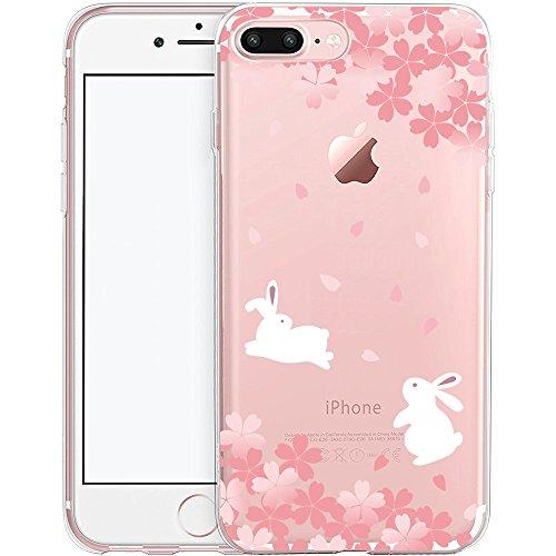 Coque iPhone 7, TrendyBox PC Hard Cover avec soft TPU Pare-chocs pour iPhone 7 (Fleur de Cerisier et Lapins) Fleur de Cerisier et Lapins